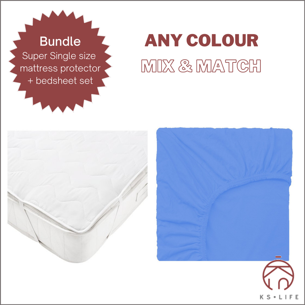[SET] Super-single size Mattress Protector & Fitted Bedsheet set Bundle
