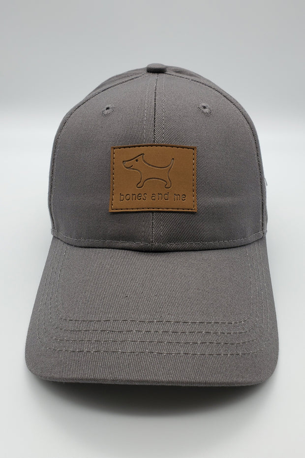 The Great Dane - Gray Baseball Cap with Brown Leather Patch