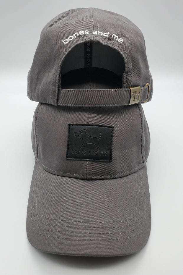 The Great Dane - Gray Baseball Cap with Black Leather Patch