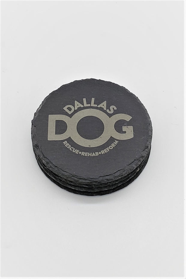 Set of 4 DALLAS DOG Engraved Coasters