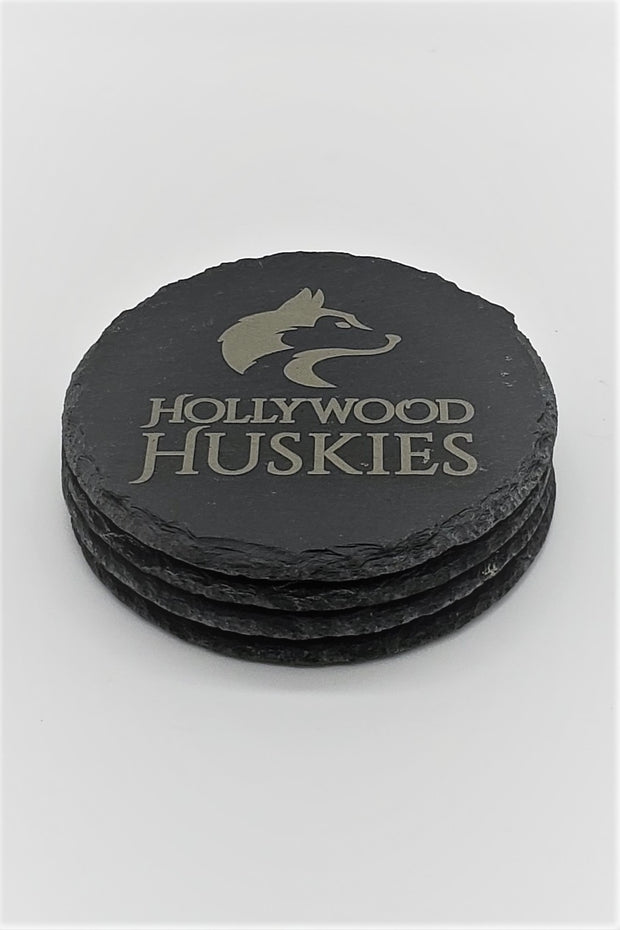 Set of 4 HOLLYWOOD HUSKIES Engraved Coasters