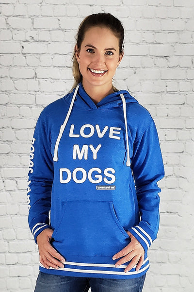 I LOVE MY DOG(S) LADIES LOUNGE HOODIE (royal blue)