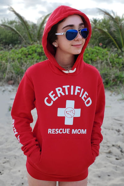 CERTIFIED Rescue Mom (red hoodie)