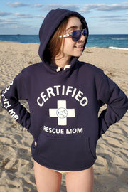CERTIFIED Rescue Mom (blue hoodie)