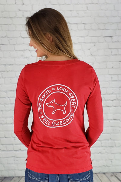 Do Good Lace-Up Long Sleeve Tee (red)