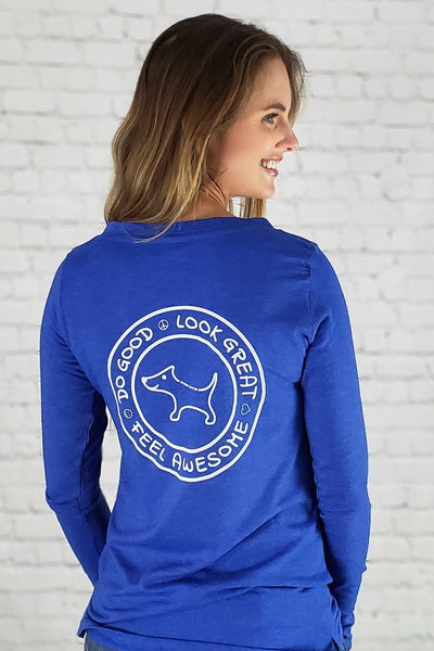 Do Good Lace-Up Long Sleeve Tee (blue)