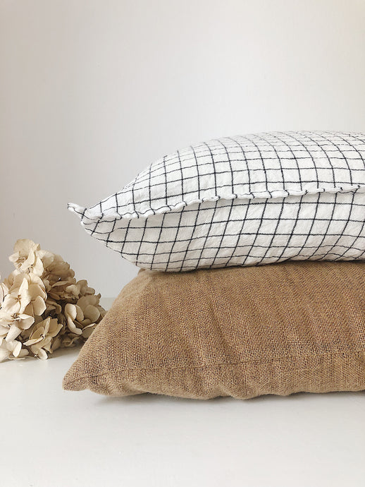NEW Linge Particulier Cushion Cover 50 x 50 cm white/black Checks