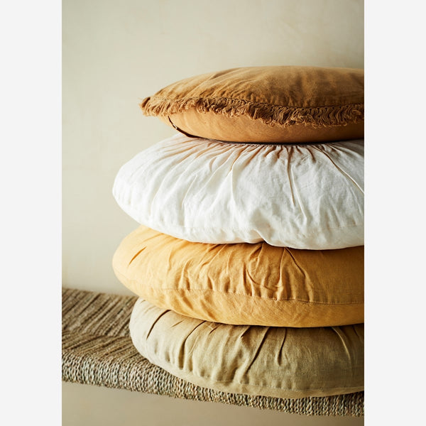 Round Linen Cushion Light Tapenade