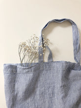 Load image into Gallery viewer, Linge Particulier Bag Medium Blue Thin Stripe