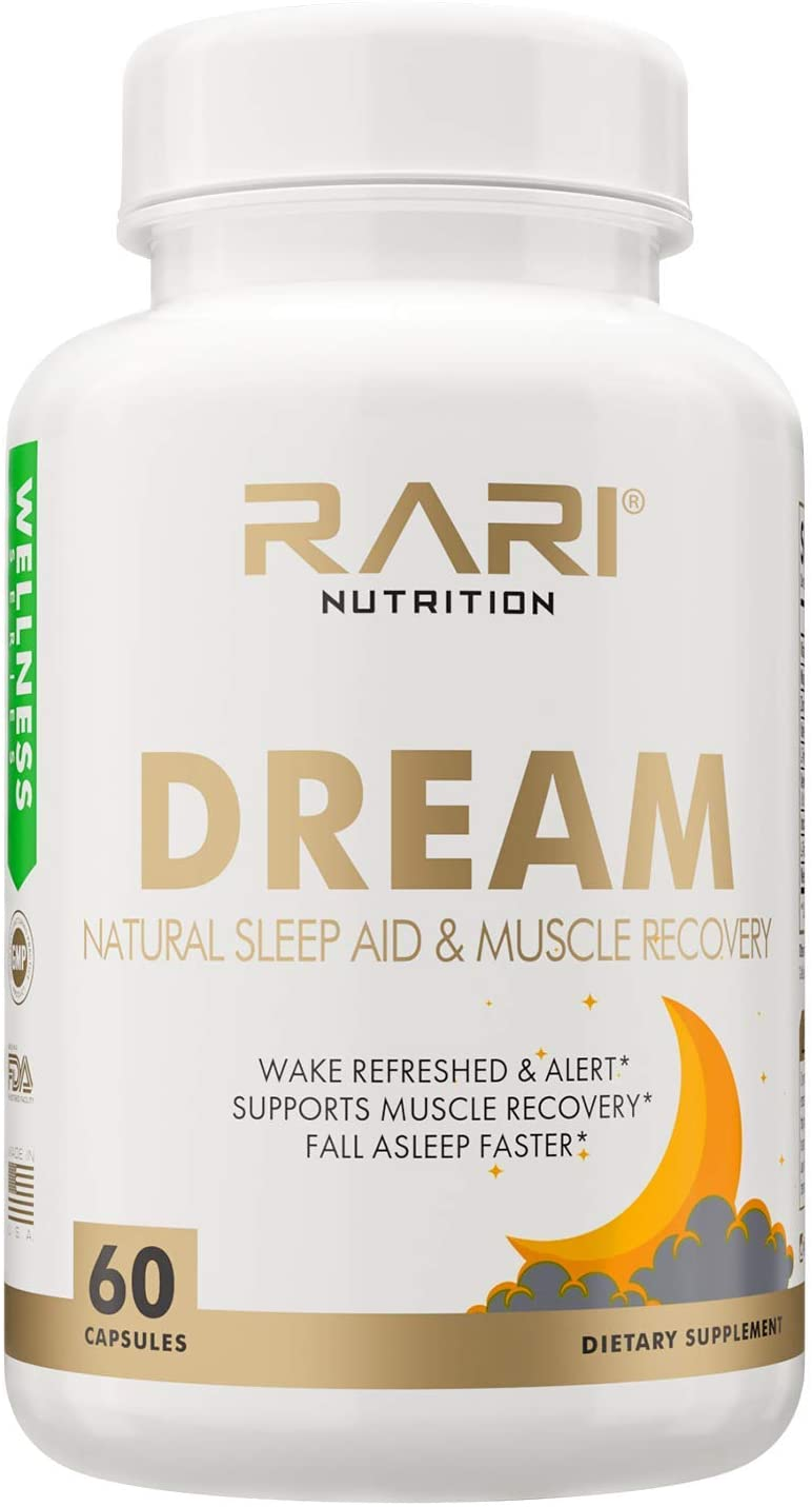 RARI Nutrition - Dream 100% Natural Sleeping Pills and Muscle Recovery I Herbal Sleep Supplement with Melatonin, and Valerian | Sleeping Aid for Adults I 60 Sleeping Pills Capsules Non-Habit Forming