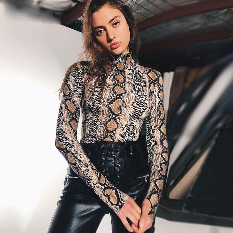 Snakeskin High Neck Bodysuit