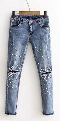Ripped Jeans With Pearls