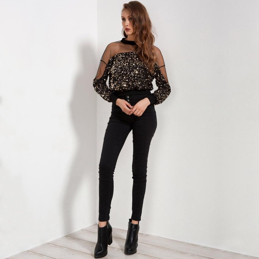 Long Sleeve Mesh Blouse