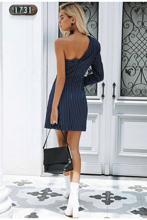 One Shoulder Blazer Dress