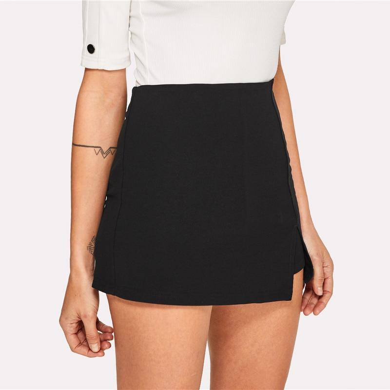 Elegant Split Front Solid Shorts