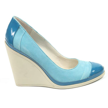 Nine West Womens Wedge Pump NWDIDI BLUE BLUE