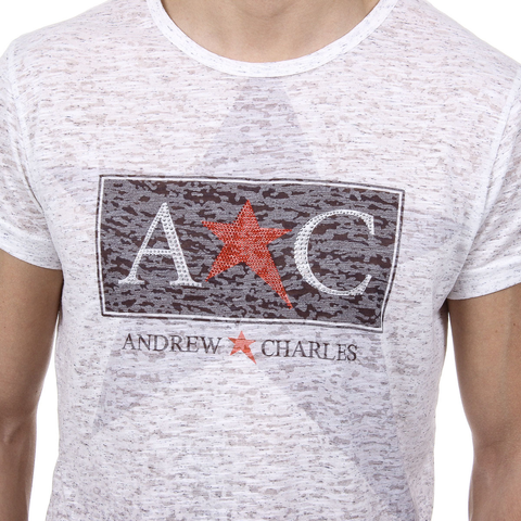 Andrew Charles Mens T-Shirt Short Sleeves Round Neck White LEVI