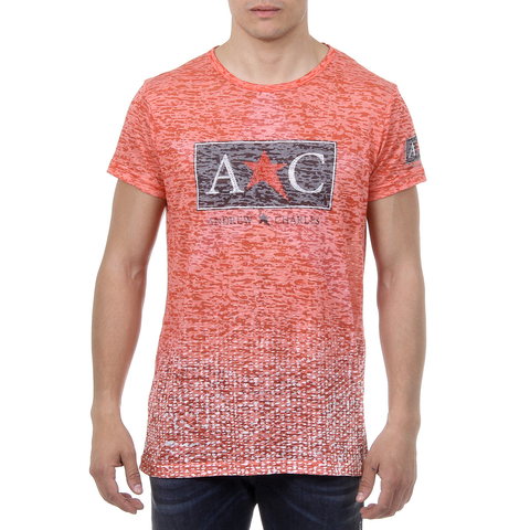 Andrew Charles Mens T-Shirt Short Sleeves Round Neck Red LEVI