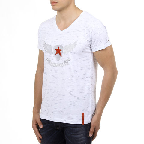 Andrew Charles Mens T-Shirt Short Sleeves V-Neck White CONNOR