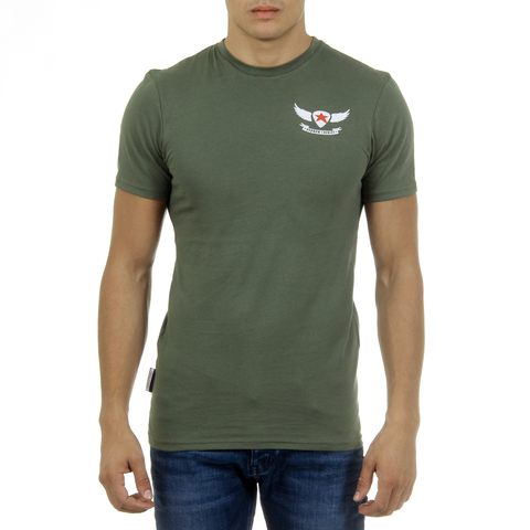 Andrew Charles Mens T-Shirt Short Sleeves Round Neck Green KEITA