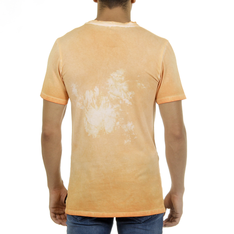 Andrew Charles Mens T-Shirt Short Sleeves Round Neck Orange KARITA