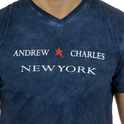 Andrew Charles Mens T-Shirt Short Sleeves V-Neck Blue KOFI