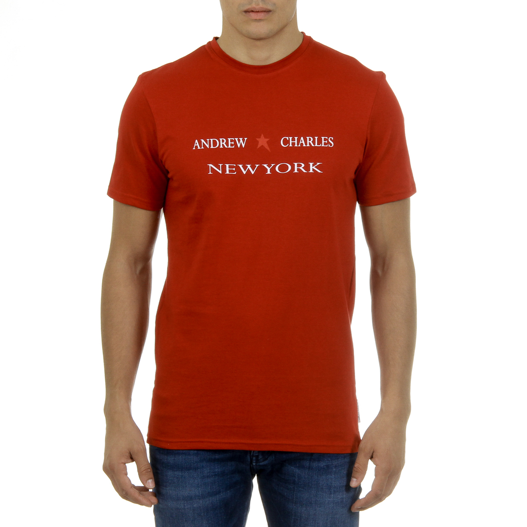 Andrew Charles Mens T-Shirt Short Sleeves Round Neck Red KEITA