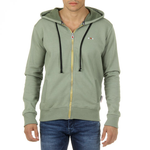 Andrew Charles Mens Hoodie with Zip Long Sleeves Round Neck Green FELA