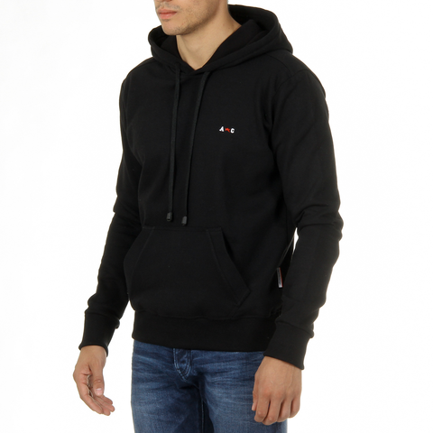 Andrew Charles Mens Hoodie Long Sleeves Round Neck Black FIFI
