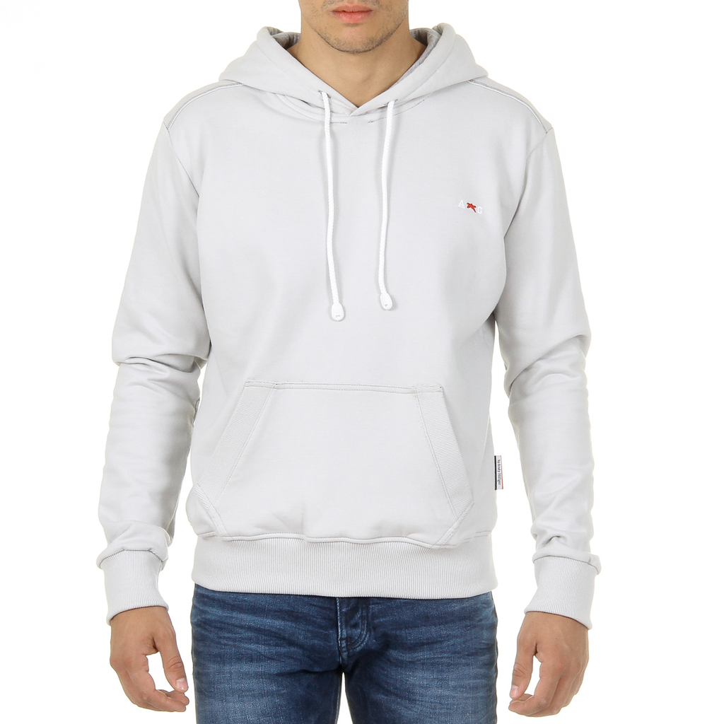 Andrew Charles Mens Hoodie Long Sleeves Round Neck Light Grey FIFI