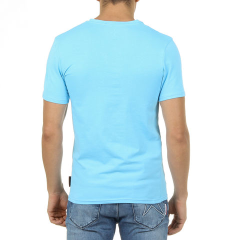 Andrew Charles Mens T-Shirt Short Sleeves V-Neck Light Blue KENAN