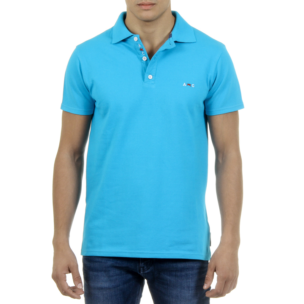 Andrew Charles Mens Polo Short Sleeves Light Blue SEFU