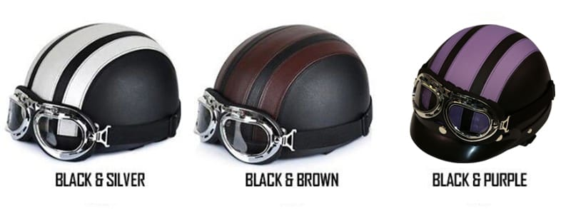 Leather Motorcycle Helmets with Visor Goggles