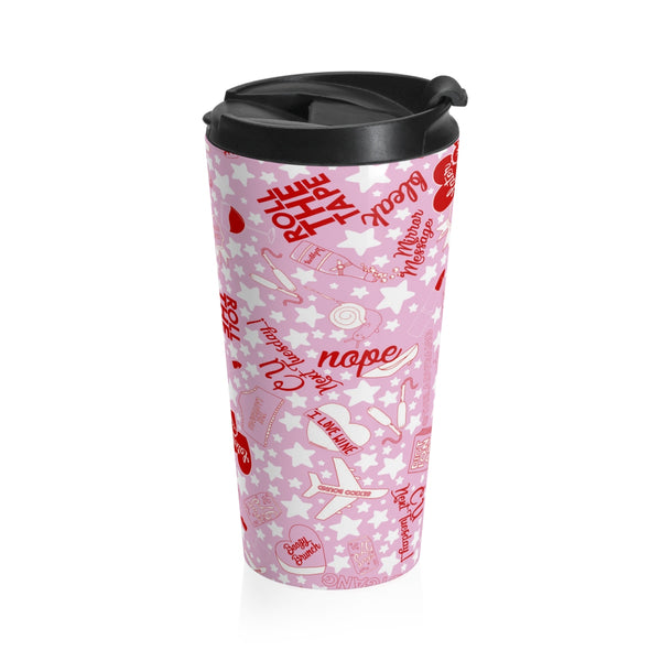 This stainless steel LadyGang travel mug has an easily removable, secure plastic lid