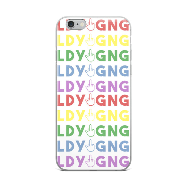 This LadyGang Rainbow Phone Case protects your iPhone and shows that you give hate the middle finger