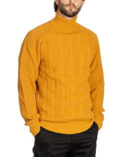 WOLF - CABLE MUSTARD HIGH NECK SWEATER