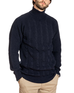 WOLF - HIGH NECK BLUE CABLE SWEATER