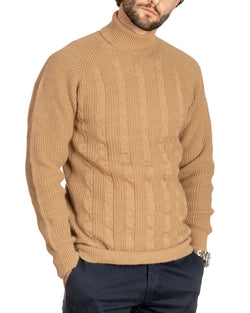 WOLF - HIGH NECK BEIGE CABLE SWEATER