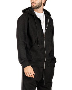 MICHAEL - SWEATSHIRT MIT HOOD IN BLACK SUEDE