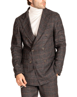 KENT - PRINCE OF WALES GRAY DOUBLE-BREASTED JACKET