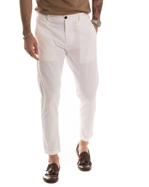 SCOTTIE - PANTALONE BIANCO NO-STIRO CON ELASTICO