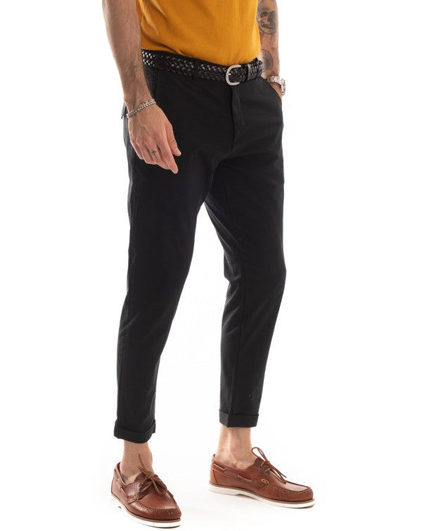 SCOTTIE - PANTALONE NERO NO-STIRO CON ELASTICO