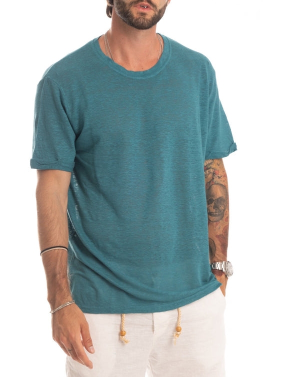 SMERALDA - T-SHIRT BASIC VERDE ACQUA IN LINO