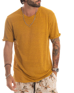 SMERALDA - T-SHIRT BASIC SENAPE IN LINO