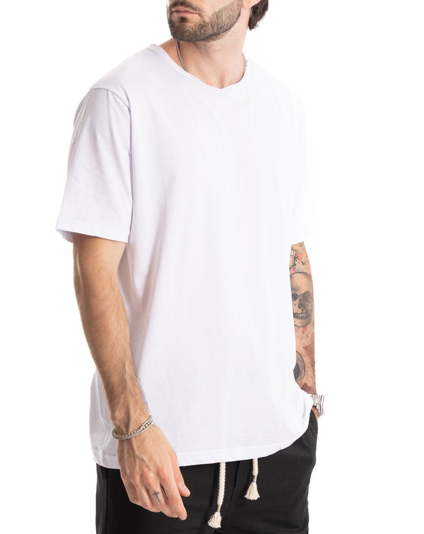 TEE - T-SHIRT BIANCA BASIC IN COTONE