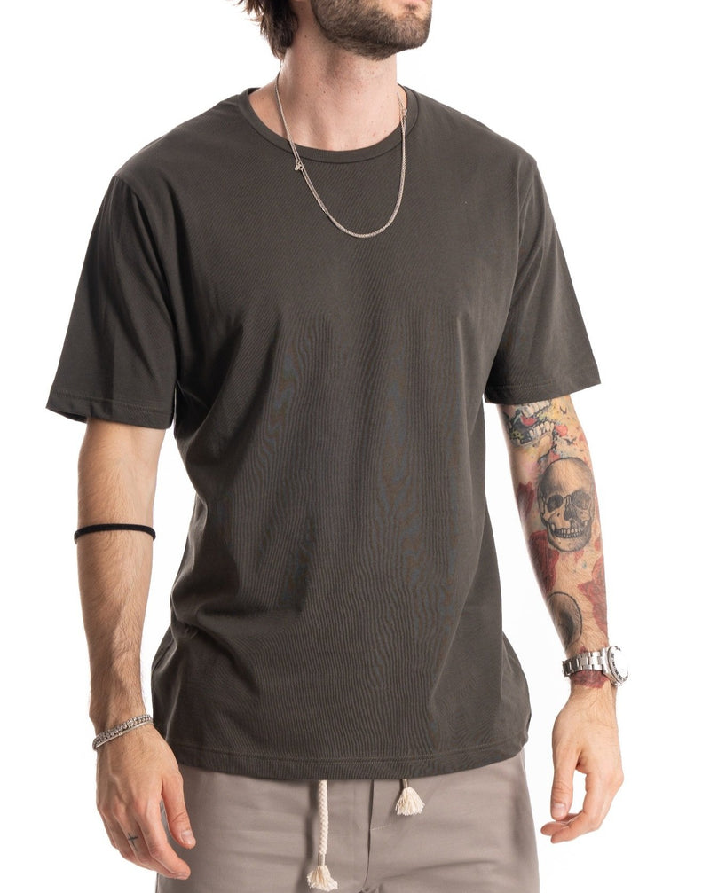 TEE - T-SHIRT VERDE SCURO BASIC IN COTONE