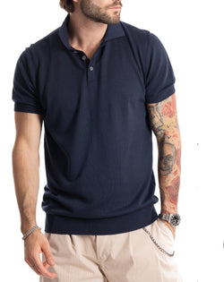 ROGER - BLUE COTTON POLO WITH ELASTIC