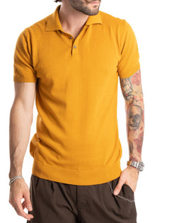ROGER - COTTON MUSTARD POLO WITH ELASTIC
