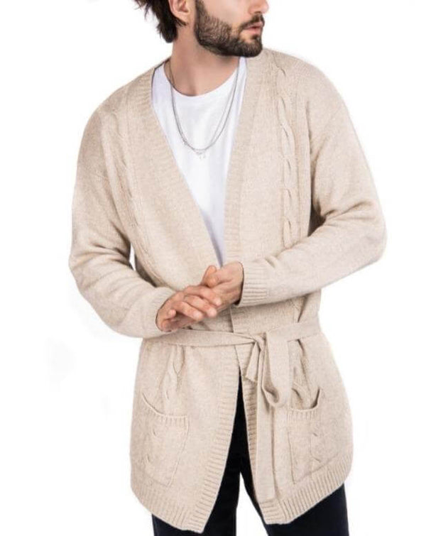 HARVEY -  CARDIGAN BEIGE IN CASHMERE A CAPPOTTO CON TRECCE