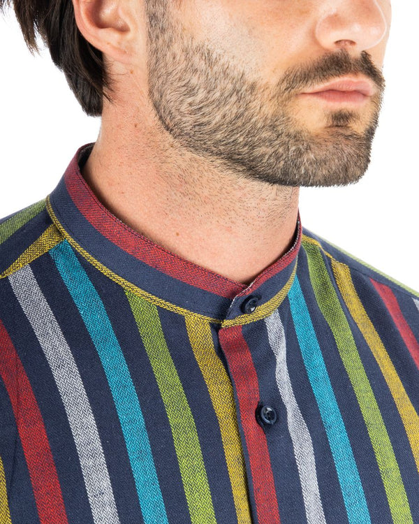 IBIZA - CAMICIA MULTICOLOR IN LINO COLLO COREANO